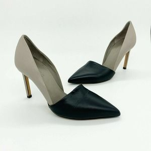 Vince Cosette Two Tone Heels Black Gray Leather 6